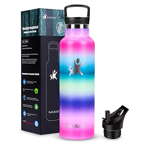 KollyKolla Botella de Agua Acero Inoxidable, Termo Sin BPA Ecológica Reutilizable, Botella Termica con Pajita y Filtro, Water Bottle para Niños & Adultos, Deporte, Oficina (500ml QRY-009)