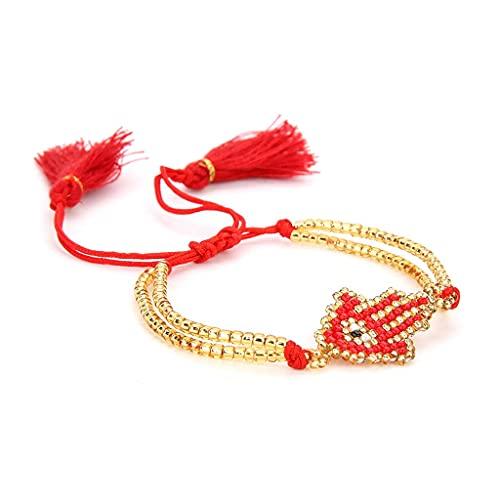 Cadena de pulsera, pulsera de ojo malvado de la amistad hecha a mano Hamsa Hand Fatima Tassel Seed Bead Jewelry