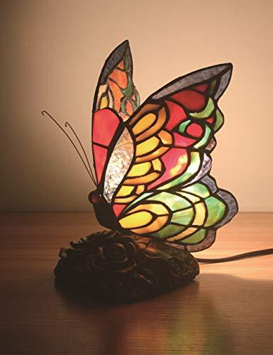 Lámpara de mesa decorativa de mariposa Tiffany Lámpara de escritorio hecha a...