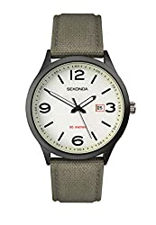 Ionic black plated case White glow dial with date display Green nylon strap Water resistance to 50 metres 2 year guarantee