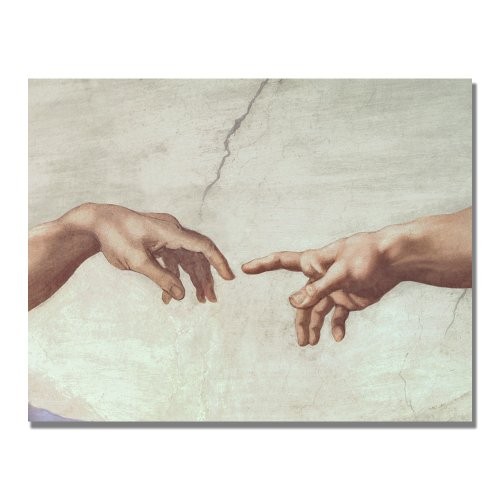 Hands Of God by Michelangelo, 35x47-Inch Canvas Wall Art