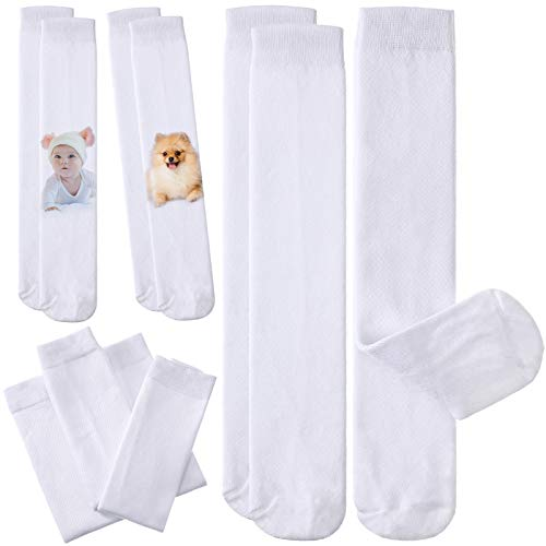 6 Pairs Blank White Sublimation Socks, Tube Socks for Men Women, Sublimation Print Ready Socks for Teen Adult DIY Personalized Socks