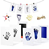Baby Footprint Handprint 2 Kits Premium Safe Inkless Newborn no Contact with Ink Pad and Imprint Cards Print for Babies Pets Photo Picture Frames(0-12 Month)