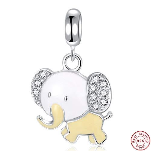 jiao Popular Esmalte 925 Plata Real Lindo Elefante Colgante Encanto para Pulsera Brazalete y Collar Colgante Apto para Mujeres Encanto de Regalo