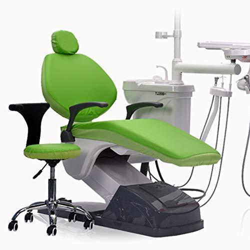 BIUYYY Elastische wasserdichte Schutzhülle PU-Leder Dental Stuhl Sitzbezug Kopfstütze Rückenlehne Schutz Zahnarzt Ausrüstung, 4 Teile/Satz,Grün