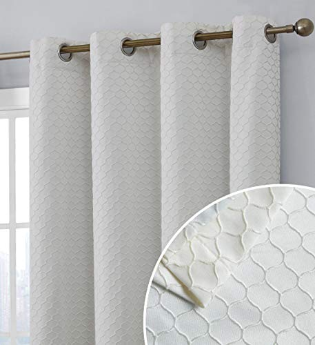 HLC.ME Siena Decorative Lattice 100% Blackout Thermal Insulated Double Layer Window Curtain Grommet Panels for Living Room & Bedroom - Energy Savings & Soundproof, Set of 2 (50 x 84 inch Long, Ivory)