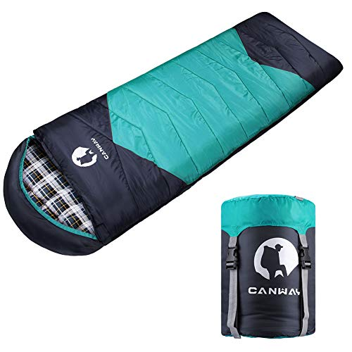 CANWAY Sleeping Bag with Compression Sack, Lightweight and Waterproof for Warm & Cold Weather, Comfort for 4 Seasons Camping/Traveling/Hiking/Backpacking, Adults& Kids, Cyan-Flannel