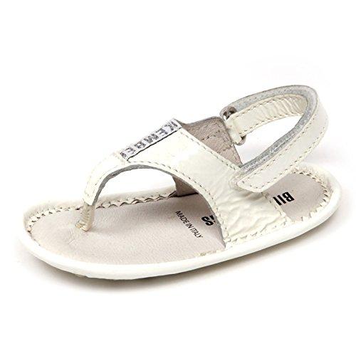 BIKKEMBERGS D0624 Infradito culla Bimba My First Scarpa Bianco Shoe Kid Baby [17-18 (M)]