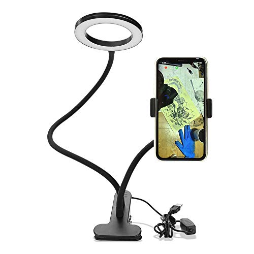 Anself Clip On Led Selfie Ring Light con soporte para teléfono celular Lámpara de maquillaje regulable flexible Lámpara de mesa de escritorio Photo Studio para Live Stream