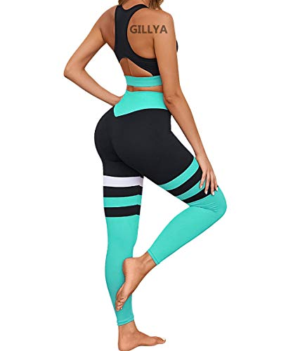 GILLYA Yoga Workout Outfits for Women 2 Piece Set, High Waisted Striped Gym Leggings Top Bra Set, Fitness Gym Exercise Outfits Set