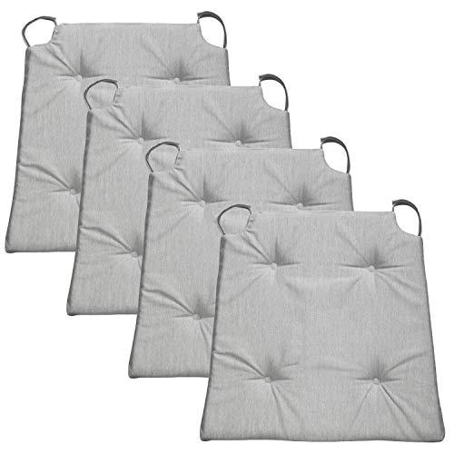 Traumnacht Basic Cojines de silla, 4 unidades, Gris Claro, 40 x 42 x 4 cm