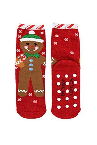 Foot Traffic Womens Slipper Socks, Non-Slip Comfort, Gingerbread Man (Size 4-10)