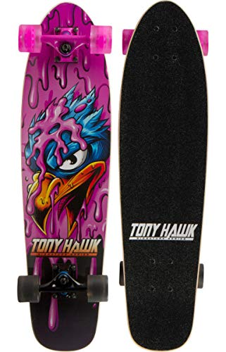 """Tony Hawk 31"""" Complete Cruiser Skateboard , 9-ply Maple Desk Skate Board for Cruising, Carving, Tricks and Downhill, Pink Hawk"""