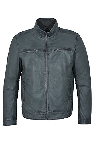 Les hommes 999 Gris Soft rétro motards urbains Style décontracté zippé Bomber veste en cuir (38)