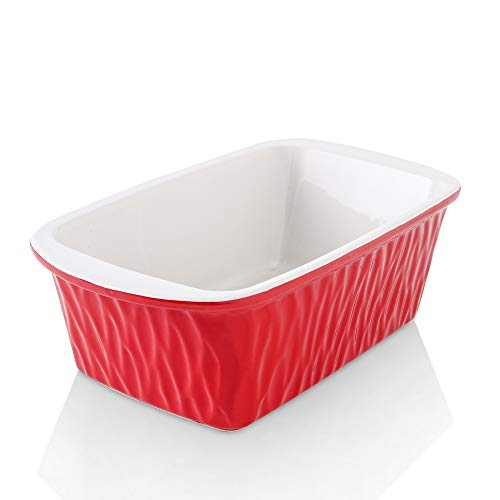 KOOV Ceramic Loaf Pan for Baking Bread, 9 x 5 inch Bread Pan, Rectangular Bread Loaf Pan, Ceramic Bakeware for Cooking, Home Kitchen, Bread Baking Pan Texture Series (Red)