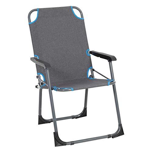Greemotion Lido Silla de Camping, Aluminio, Gris/Azul
