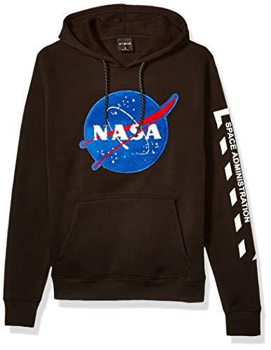 WT02 Men's NASA Collection Fleece Hooded Sweatshirt (Pullover, Fullzip), Black Logo, X-Large