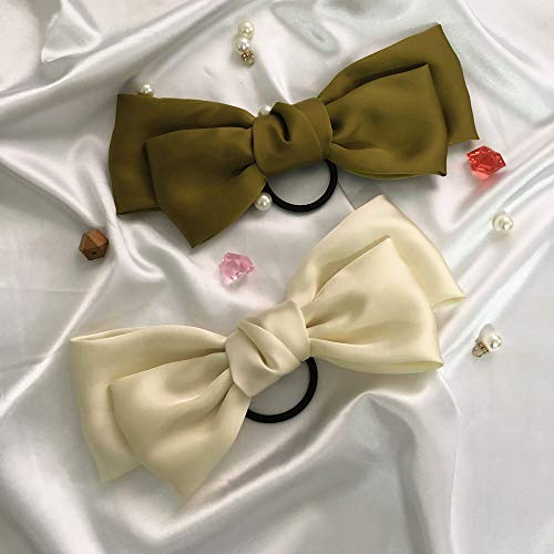 JaneOft 4 Pieces Bow Hair Tie, Big Hair Ribbon Rubber Bands 1