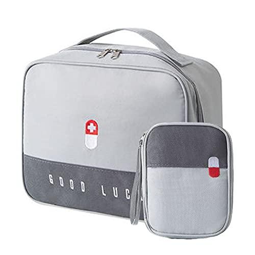 2Pcs Botiquín de Primeros Auxilios Vacio Bolsa Médico de Emergencia Gran Capacidad Bolsa de Primeros Auxilios Portátil Bolsa de Supervivencia Emergencia Botiquín de Viaje Montaña Coche (Gris)