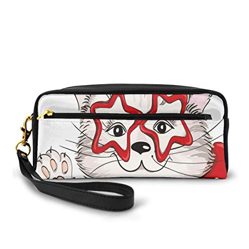 Pencil Case Pen Bag Pouch Stationary,Fashion Portrait Hipster Cat With Star Shaped Glasses And Bow I Love Kitty,Small Makeup Bag Coin Purse