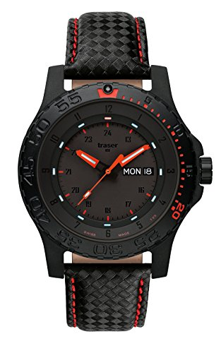 Traser H3 Watches Red Combat Leder rote Naht 105502
