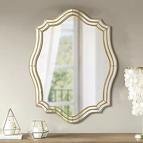 Espejo de Maquillaje LED, Espejo con Espejo de Tocador Ligero, Bordes de Madera Tallados a Mano de Lujo Ligero, para Sala de Estar, Pasillo, Dormitorios, Tocador 60 * 90 Cm