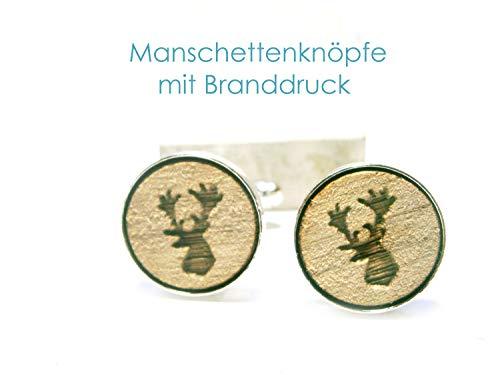 Manschettenknöpfe Holz Hirsch Trachten silber Herren Männer Schmuck
