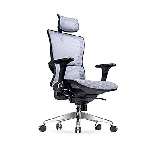 Bdesign Home Computer Chair Executive Stuhl Bürostuhl Sportsitz mit Kopfstütze Armlehne einstellbare Höhe einstellbar (Color : Gray)