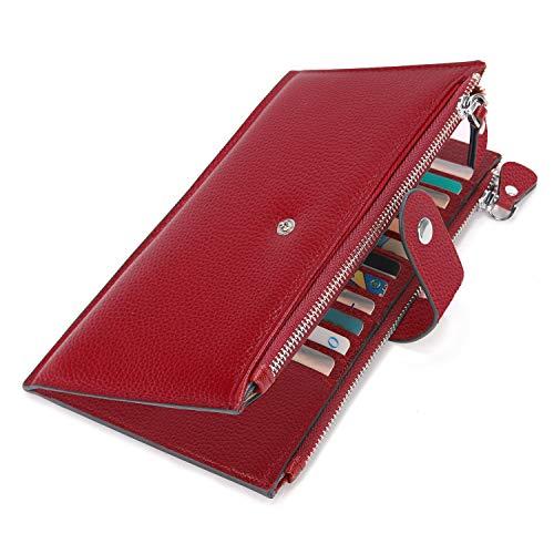 Cartera de Mujer de Cuero Genuino, YALUXE Monedero Largo Grande Cartera RFID Billetera de Cremallera Bloqueo Tarjeteros y Fundas con Bolsillo para Celular Rojo