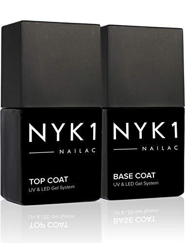 NYK1 Gel Base Coat Top Coat UV Und LED (10ml x 2) Professionelles UV Nagellack Base Und Top Coat Set - UV Und LED Shellac Kompatibles Top Coat Und Base Coat Gel Polish UV Base Und Top Coat Gel