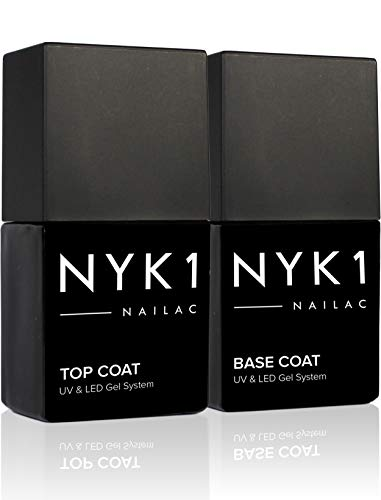 NYK1 Gel Base e Top Coat Semipermanente (10ml x 2) Professionale Smalto Semipermanente Base e Top Coat Gel per unghie e Base - UV e LED Shellac Compatibile Top Coat e Base Semipermanente Gel