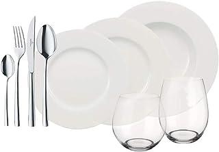 Villeroy & Boch Wonderful World White 4 Friends Service de table pour 4 personnes, 36 pièces, Porcelaine Premium/Cristal/A...