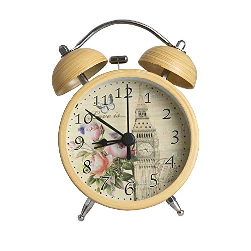 XU-Alarm clock LED Veilleuse Petit Réveil Personnalité Créative Réveil Tendance Maison De Mode Chambre 3,5 Pouces Imitation Bois Grain Cloche Horloge Muette Scan Poudre Brune E