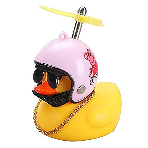 Qirc Coche pato con casco viento roto pequeño pato amarillo bicicleta de carretera casco de montar accesorios de ciclismo (rosa-B)