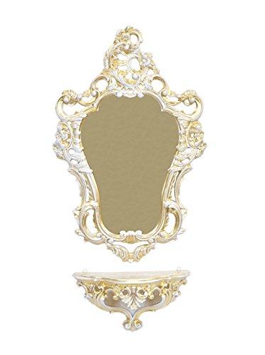 Ideacasa Jeu Console + Miroir Mural Or Blanc Doré Style Baroque Louis XVI Imitation Vintage