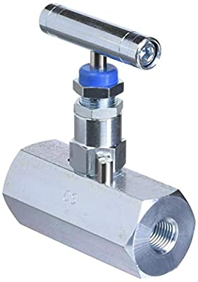 "PIC Gauge HV-CS-1/4-GS-180-FXF Carbon Steel Hex Body Straight Needle Valve with Gas Service Seat, 1/4"" Female NPT x 1/4"" Female NPT Connection Size, 6,000 psi Pressure from PIC Gauges"