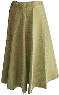 SNEH Women's Brocade Silk Skirt (Pista Green)