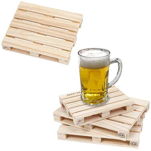 GERILEO Europaletten Untersetzer, 6 – 8 – 10 Stück, Miniatur-Palette aus Holz, geeignet für Bars, Zuhause und Büro. (10)