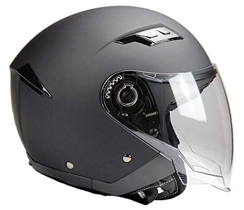 BNO Jethelm mi Langvisier Jet200 Motorradhelm Roller Helm Schutzhelm Matt Schwarz (XS-XXL) (S)