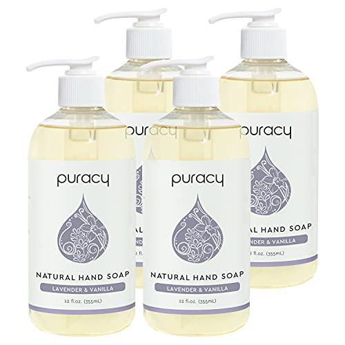 Puracy Natural Hand Soap, Lavender & Vanilla, Moisturizing Natural Hand Wash, Plant-Powered Gel, 12 Fl Oz (4-Pack)