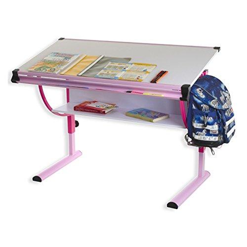 IDIMEX Kinderschreibtisch Schülerschreibtisch Carina in rosa pink, Schreibtisch höhenverstellbar und neigungsverstellbar