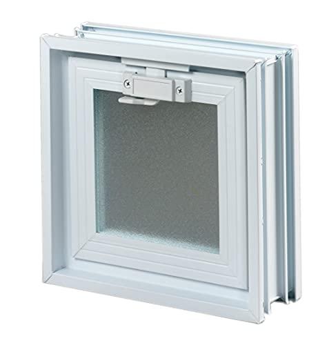 Ventana de ventilación para insertar en una pared de bloques de vidrio, ladrillo u hormigon | Dimensiones cm 19x19x8 | Sustituye 1 bloque de vidrio de 19x19x8 cm.| Unidad de venta 1 ventana