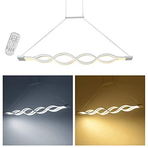 Aufun 60W LED Höhenverstellbar Pendelleuchte, Moderne Acryl Kronleuchter Kurve Hängelampe Esstisch Kreative Deckenlampe für Esszimmer Küche Wohnzimmer schlafzimmer Flur Dimmbar
