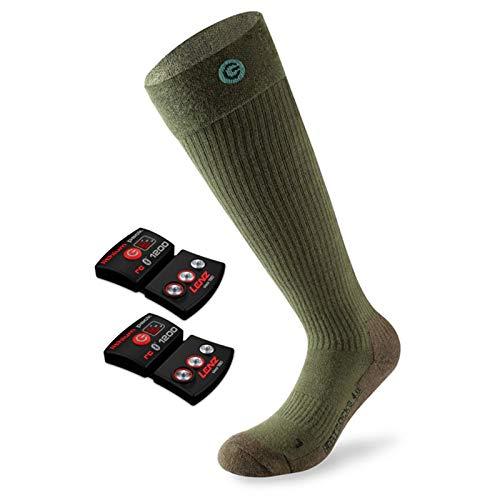 Lenz Set Heat Socks 4.0 Toe Cap + lithium pack rcb 1200 - beheizbare Socken 39-41 grün