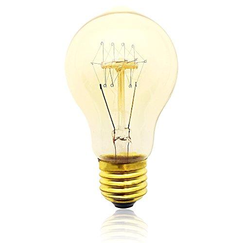 Edison Vintage Glühbirne, E27 40W A60T Dekorative Glühlampe, Warmweiß Dimmbar Squirrel Cage Filament Kohlefadenlampe oder Deckenleuchte Ideal für Nostalgie und Retro Beleuchtung