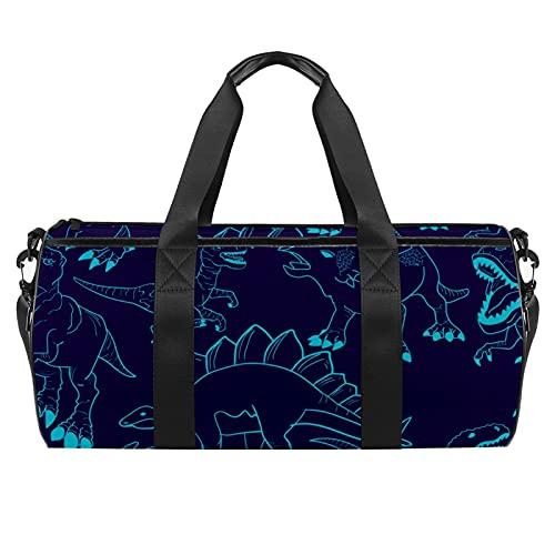 Silhouette Dino - Borsone da viaggio cilindrico con tasca bagnata, leggera, da viaggio, con tracolla per uomo e donna