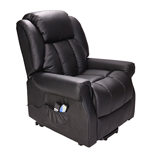 Hainworth Leather Dual Motor riser recliner chair with heat and massage - Black