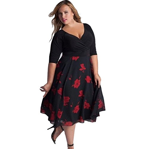 Women Plus Size Floral V Neck Short Sleeve Cocktail Evening Party Swing Midi Dress (Red, XXL)