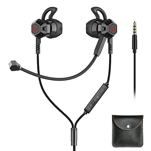 Gaming Earbuds with Microphone, Noise Cancelling Stereo Bass Headphones in-Ear with Volume Control, Wired Gaming Earphone for PC, Mobile Phone with 3.5MM (Black)