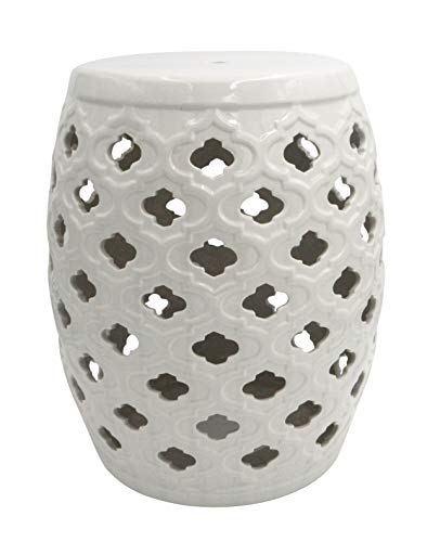 Amazon Brand – Ravenna Home Moroccan-Pattern Ceramic Garden Stool or Side Table, 16'H, Off-White
